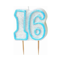 16th Birthday Candle Blue Glitter