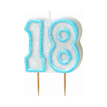 18th Birthday Candle Blue Glitter
