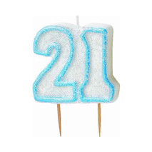 21st Birthday Candle Blue Glitter