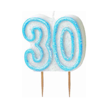 30th Birthday Candle Blue Glitter