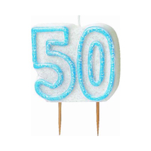 50th Birthday Candle Blue Glitter