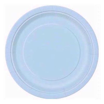 Baby Blue Paper Party Plates (16 Pack) - 23cm