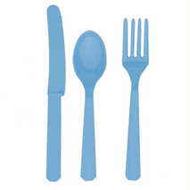 Baby Blue Plastic Cutlery (24 Set)