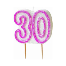 30th Birthday Candle Pink Glitter