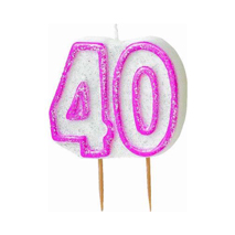 40th Birthday Candle Pink Glitter