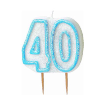40th Birthday Candle Blue Glitter