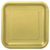 Gold Square Paper Plates (14 Pack)