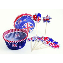 Great Britain Cup Cake Cases and Picks