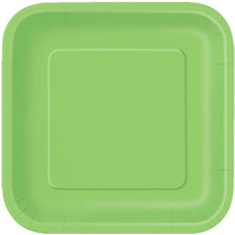 Lime Green Paper Party Plates Square 23cm (14 Pack)