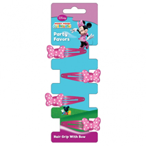Minnie Mouse Party Hair Clips with Bow (4 Pack)