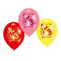 Minnie Mouse Party 5th Birthday Balloons (6 Pack)