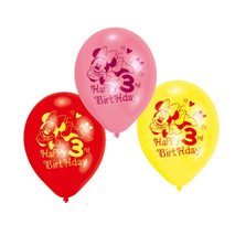 Minnie Mouse Party 3rd Birthday Balloons (6 Pack)