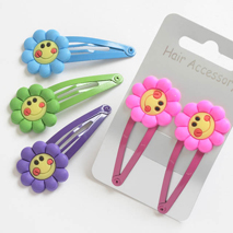 Smiley Flower Hair Clips (1 pair)