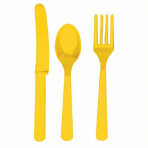 Sunflower Yellow Plastic Cutlery (24 Set)