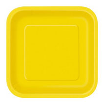 Sunflower Yellow Paper Party Plates Square 23cm (14 Pack)